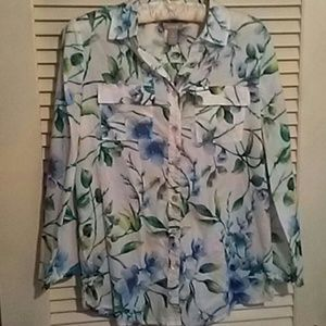 CHICO'S Watercolor Floral Blouse